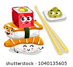 cute sushi set cartoon... | Shutterstock . vector #1040135605