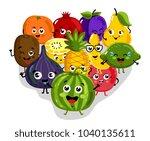 cute fruit cartoon characters... | Shutterstock . vector #1040135611