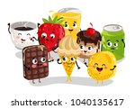 cute sweet food and drink... | Shutterstock . vector #1040135617