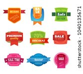 discount sale sticker set... | Shutterstock . vector #1040135671