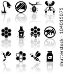 Set of black bee icons, illustration - stock vector