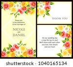 invitation with floral... | Shutterstock . vector #1040165134