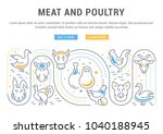 line illustration of meat and... | Shutterstock .eps vector #1040188945