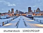 snow covered benches  pier ... | Shutterstock . vector #1040190169