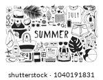 hand drawn summer pattern.... | Shutterstock .eps vector #1040191831