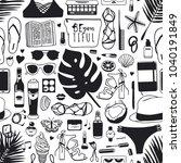 hand drawn summer seamless... | Shutterstock .eps vector #1040191849