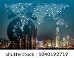 double exposure of coin stack... | Shutterstock . vector #1040192719