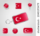turkish falg icons set vector | Shutterstock .eps vector #1040195479
