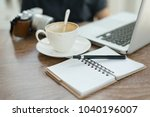 a cup of coffee latte has drank ... | Shutterstock . vector #1040196007