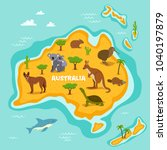 australian map with wildlife... | Shutterstock . vector #1040197879