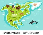 north american map with... | Shutterstock . vector #1040197885
