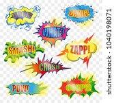 vintage pop art comic spiky... | Shutterstock . vector #1040198071