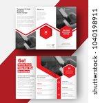 vector triple folding brochure... | Shutterstock .eps vector #1040198911