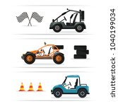 off road buggy car set isolated ...   Shutterstock . vector #1040199034