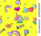 vintage pattern with love... | Shutterstock . vector #1040200504
