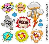 vintage pop art speech and... | Shutterstock . vector #1040200525