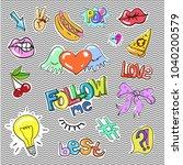 set of vintage pop art comic...   Shutterstock . vector #1040200579