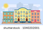 city street with buildings.... | Shutterstock .eps vector #1040202001
