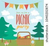 picnic or barbecue party... | Shutterstock .eps vector #1040202874