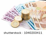 turkish lira banknotes and... | Shutterstock . vector #1040203411
