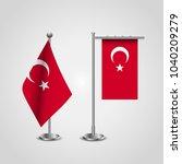 turkey flag stand emblem | Shutterstock .eps vector #1040209279