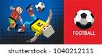 soccer player kicks the ball.... | Shutterstock .eps vector #1040212111