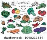 vegan food  vegetable menu ... | Shutterstock .eps vector #1040213554