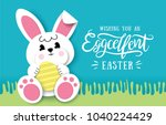 happy easter greeting card with ... | Shutterstock .eps vector #1040224429