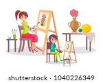 creative mother and son  young... | Shutterstock .eps vector #1040226349
