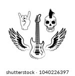rock and roll symbols as...   Shutterstock .eps vector #1040226397