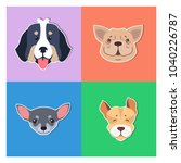four canine heads of pedigreed... | Shutterstock .eps vector #1040226787