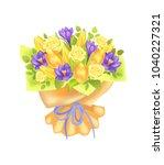 bunch of spring flowers ... | Shutterstock .eps vector #1040227321