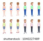 young guy with several outfits... | Shutterstock .eps vector #1040227489