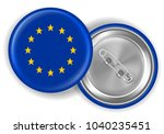 europe flag round brooch pin... | Shutterstock .eps vector #1040235451