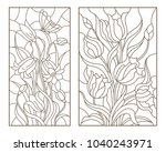 set of contour stained glass... | Shutterstock .eps vector #1040243971