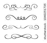 set hand drawn flourish... | Shutterstock .eps vector #1040251735