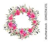 watercolor flowers  leaves.... | Shutterstock . vector #1040256151