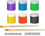 set of paints with brushes... | Shutterstock .eps vector #104026001