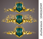 set of golden royal shields... | Shutterstock .eps vector #1040263549