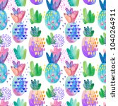 colorful decorative pineapples... | Shutterstock . vector #1040264911