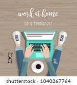 work at home. freelance concept.... | Shutterstock .eps vector #1040267764