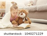 cute happy little casual girl... | Shutterstock . vector #1040271229