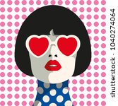 stylish woman with heart... | Shutterstock .eps vector #1040274064