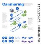 isometric carsharing vector... | Shutterstock .eps vector #1040277211