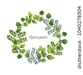 wreath of leaves. illustration... | Shutterstock .eps vector #1040278504