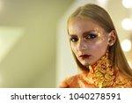girl with blond hair  golden... | Shutterstock . vector #1040278591
