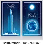 two banners for space travels... | Shutterstock .eps vector #1040281207