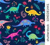 dinosaurs cute kids pattern for ... | Shutterstock .eps vector #1040281441