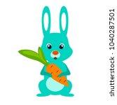 rabbit with carrot. little... | Shutterstock .eps vector #1040287501