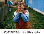 unhappy old crying woman... | Shutterstock . vector #1040292169